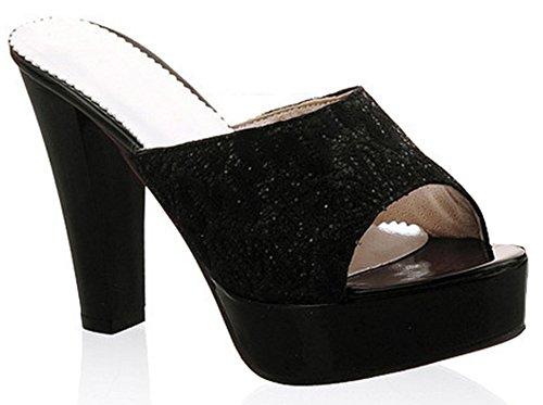 IDIFU Women's Glitter Sequins High Chunky Heel Slide Sandals Peep Toe Platform Mules Black 4 B(M) US by IDIFU