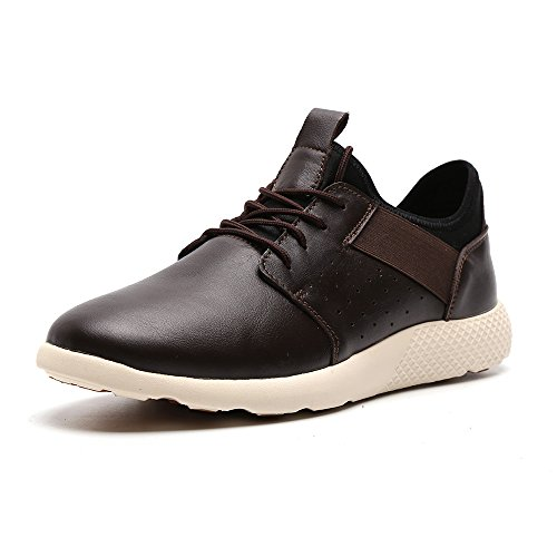 LANGBAO Men's Walking Shoes Casual Comfortable Fashion Sneakers Breathable Athletic Running Gym Shoes 7036-2 Brown 10