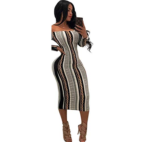 (Women's Sexy Striped Off Shoulder Cocktail Party Midi Club Skirt Evening Cocktai Dresses (Grey, Medium))