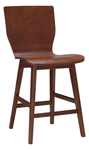 (Baxton Studio Elsa Mid-Century Modern Scandinavian Style Dark Walnut Bentwood Counter Stool (Set of 2))