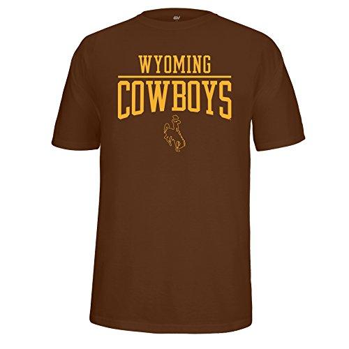 J America NCAA Wyoming Cowboys Male School Name Over Logo Choice Tee, Brown, Medium