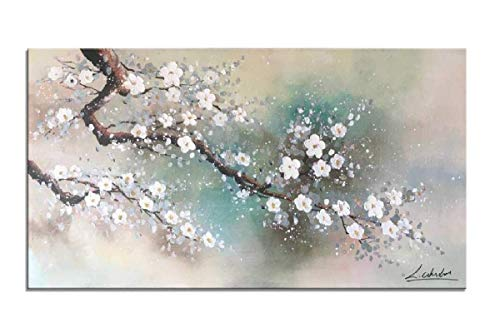 Floral Wall Art for Living Room Hand Painted Plum Tree Blossom Elegant Flowers HLJ Abstract Canvas Artwork Hang for Home Decor Stretched and Framed (MA18, 48x24in) ()