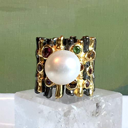 - Sz 8.5, Natural White PEARL and TOURMALINE Two Tone Black Rhodium & 14K Yellow Gold Vermeil 925 Sterling Silver, Handmade Ring Jewelry.
