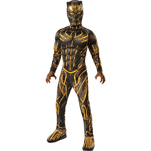 Rubie's Child's Deluxe Black Panther Movie Erik Killmonger Costume, Black/Gold, (Treasure Chest Fancy Dress Costumes)