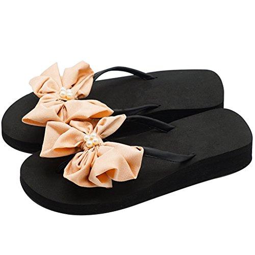 Tongs Noeud on Toe en Perle Pantoufle Chaussures 4cm Plage Compensé La Et avec Noir pour Été Forme Slip Filles Pince Heel Femme Sandale Talon pour Mid Balnéaire Dames Plate wrw56x8qg