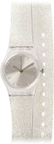 Swatch Glistar Silver Pearl Dial Transaprent Double Wrap) Strap Ladies Watch LK343