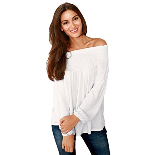 Party Keyhole - Laimeng, Fashion Women Off Shoulder Casual Loose Long Sleeve Blouse (XL, White)