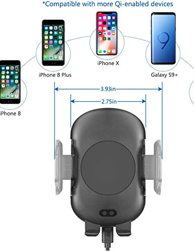 Wireless Charging Automatic CAR Mount with Infrared Motion Sensor Mechanical Holder ON AIR Vent Clip