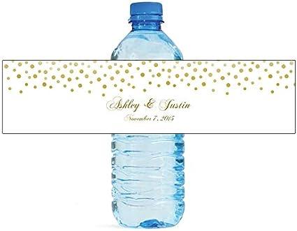 """100 Wedding Pattern Anniversary Shower Water Bottle Labels 8/""""x2/"""" wrap around"""