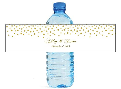 100 Gold Confetti On White Background Wedding Anniversary Engagement Party Water Bottle labels Bridal Shower Birthday