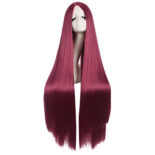 MapofBeauty 40 Inch/100cm Fashion Straight Natural Long Costume Anime Wig (Blood Red)