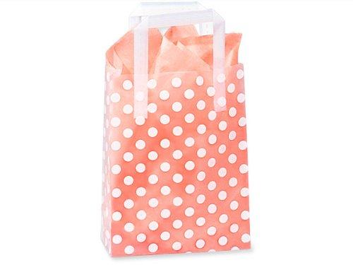 Frosted White Polka Dots Medium Plastic Shopper Gift Bag - Quantity of 5