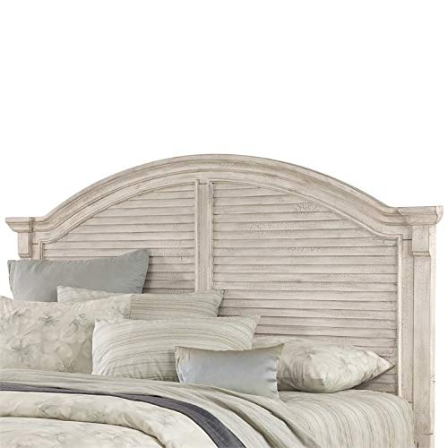 American Woodcrafters Cottage Traditions Crackled White Queen Arched Panel Headboard Only