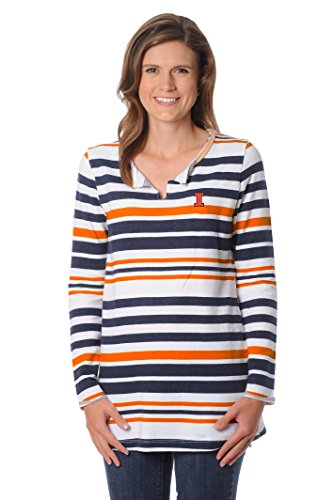 NCAA Illinois Illini Women's Striped Tunic Fleece Top, Large, Orange/Navy/White (Illini Fleece Illinois)