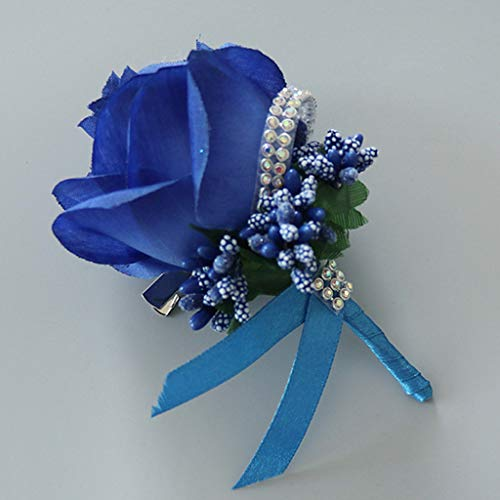 kinmyte 1Piece Women Men Wedding Artificial Rose Flower Brooch Bouquet Corsage Glitter Rhinestone Ribbon Lace Classic Prom Boutonniere with Pin(Royal Blue) ()