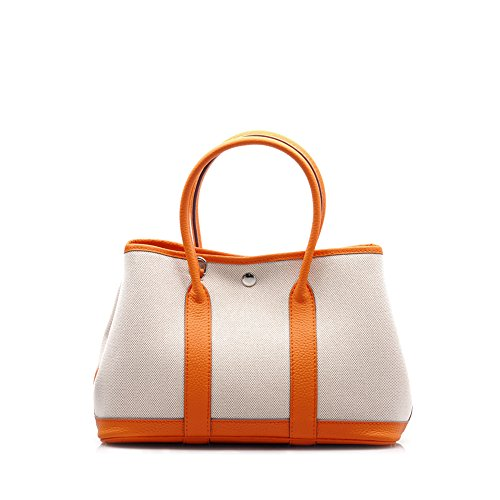 Viviesta Women's Full Grain Calf Leather Canvas Garden Shoulder Tote Party Bag Handbag