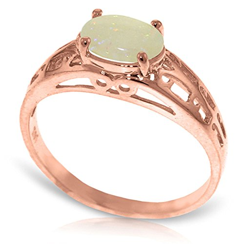 ALARRI 14K Solid Rose Gold Filigree Ring w/ Natural Opal With Ring Size (Gold Filigree Opal Ring)