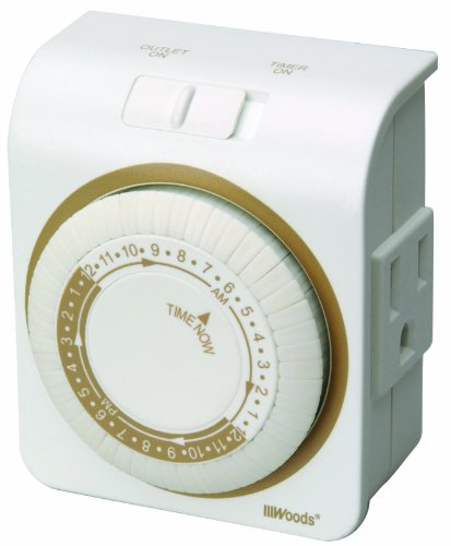 Woods 50001WD Indoor 24-Hour Heavy Duty Plug-In Mechanical Timer, 1 Grounded Outlet