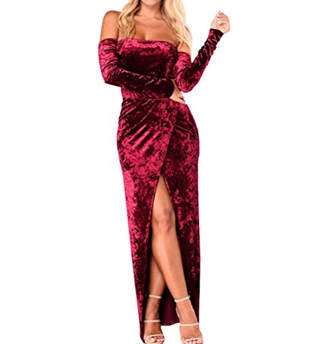 Velvet Soft Dress (Tuesdays2 Women Off Shoulder Long Sleeve Split Bodycon Maix Dress Velvet Dress (S, Red Wine))