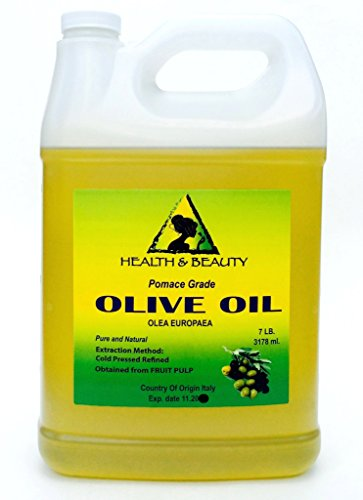 Olive Oil Pomace Grade Organic Carrier Natural Cold Pressed Pure 128 oz, 7 LB, 1 gal