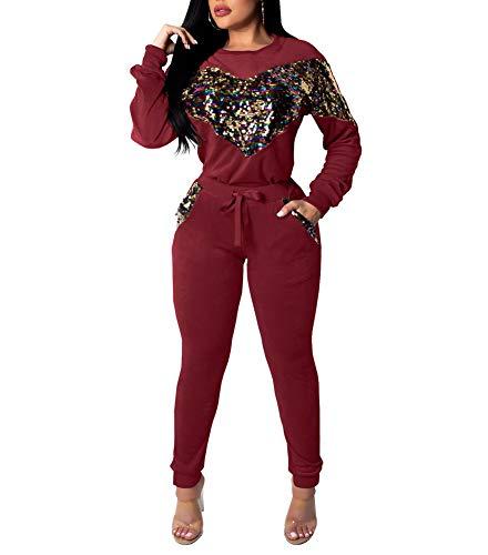 (Women's 2 Piece Outfits Velvet Sequin Patchwork Long Sleeve Sweatshirt Skinny Long Pants Tracksuit Set Wine Red L)