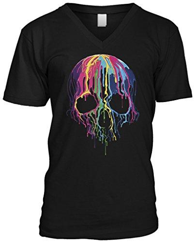 Blittzen Mens V-neck T-shirt Melting Skull, 2XL, Black ()