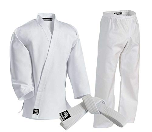 Zephyr Martial Arts Karate Gi Student Uniform with Belt - White - 3