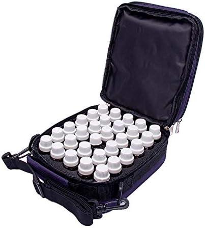 エッセンシャルオイル収納ボックス オイル拡散ハンドバッグスーツケース5-10 MLのバイアル瓶ハード外部記憶袋42本のボトル (色 : 紫の, サイズ : 18X13X21CM)