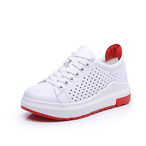 Leder Dicke Pine Cake Bottom Small White Shoes,Koreanische Version Gürtel Sport Freizeit White Board Schuhe D