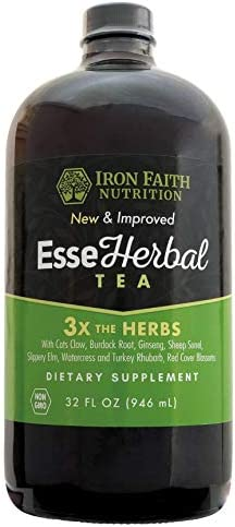 Iron Faith Nutrition Esseherbal Tea Eight herb Formula w Organic Minerals – Detox Supplement Immune Support Tea 32 oz Herbal Supplements