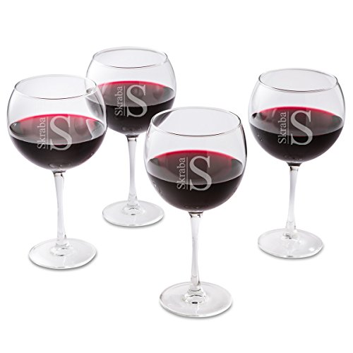 Personalized Red Wine Glass Set of 4 - Modern Monogram
