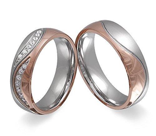 Adomio 2 anillos de compromiso, alianzas de acero inoxidable, bañados en oro rosado,
