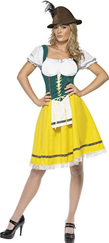 Wench Fancy Dress Costumes Uk (Smiffy's Women's Oktoberfest Costume Female Dress with Attached Apron, Multi, 1X)