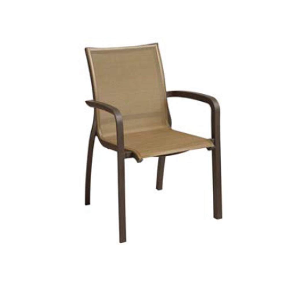 Grosfillex US546599 Sunset Stacking Armchair, Fusion Bronze Frame & Cognac Sling (Case of 4)