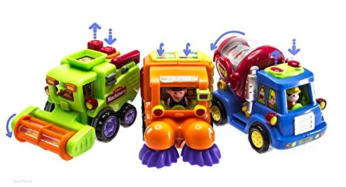 (Set of 3) Friction Powered Push & Go Cement Mixer Truck / Street Sweeper / Harvester Truck With Automatic Functions For Kids