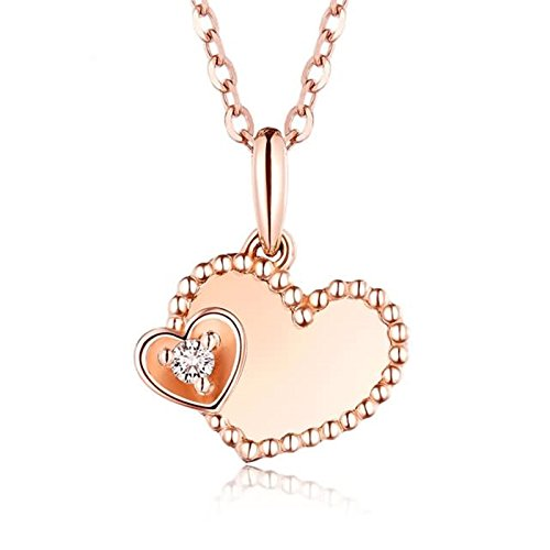 Adisaer 18k(750) Rose Gold Women Necklace Heart --Love Forever Round Diamond Wedding Necklace by Adisaer