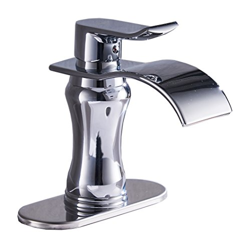 Handles Chrome Waterfall (Aquafaucet Waterfall Single Handle Chrome Bathroom Sink Vessel Faucet Lavatory Mixer Taps)