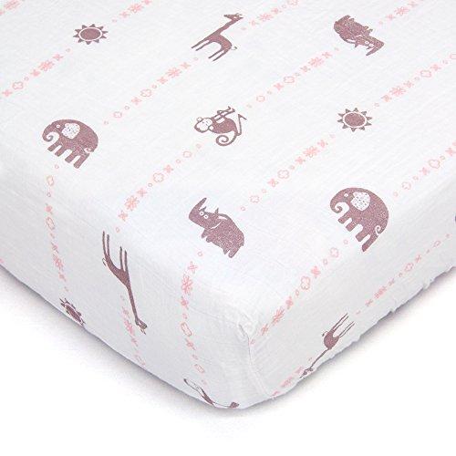 Bambino Land Organic Muslin Crib Sheet - Animal Designs (Jungle GIrl) by Bambino Land