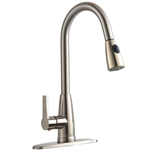 Bokaiya Commercial High Arch 1 or 3 Hole Brushed Nickel Pull Down Sprayer Pull Out Kitchen Faucets, Kitchen Sink Faucet with Base Plate 3 Hole High Arch