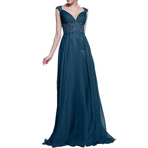 Lang Ballkleider Abendkleider Damen Blau Festlichkleider Linie Dunkel A Brautmutterkleider Steine Chiffon Charmant WfwZUxqfO4