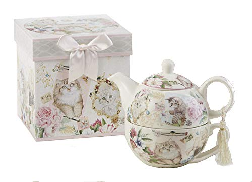 Delton Products Kitty 5.8 inches Porcelain Tea for One in Gift Box Serveware, White