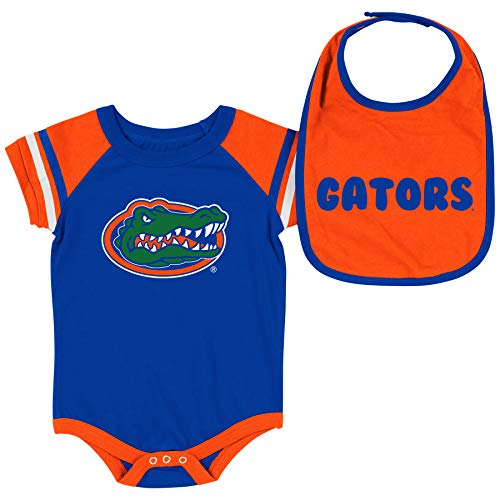 Colosseum NCAA Baby Short Sleeve Bodysuit and Bib 2-Pack-Newborn and Infant Sizes-Florida Gators-3-6 Months -