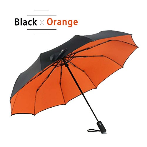 APTTEK Automatic Travel Umbrella Windproof with Double Layer, Teflon Coating with UV Protection, Collapsible Compact Umbrella for Women and Men, Lightweight for One Handed Operation(Black-Orange) by APTTEK