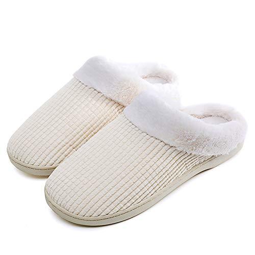 Pantoufles Semelle Beige de Chaudes Solides Maison Chaussons Pantoufles Chaussures Laiwodun Cadeau Noël Chaussons doublées Femmes l'Hiver qCnS5