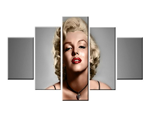 AGCary 5 Piece Unframed HD Marilyn Monroe Poster Artwork Print Canvas Painting Wall Decor for Living Room, Bedroom, Hotel, Dining Room,Bar (Marilyn Monroe, 12x20 x2pcs,12x28 x2pcs,12x36 x1pcs)