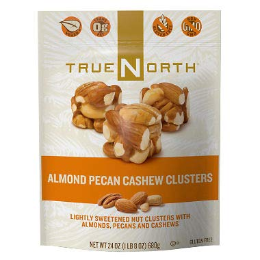 True North 100% Natural Clusters, Almond, Pecan, Cashews, Family Size THREE Pack XSG#( 24 Ounce Each) by TRUE NORTH
