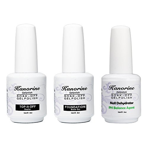 Kanorine Nail GelPolish Set( Base Coat + No-Wipe TopCoat + Bonding Helper PH Balance Agent) Kit UV/LED Nail Polish Salon 15ml x 3PCS