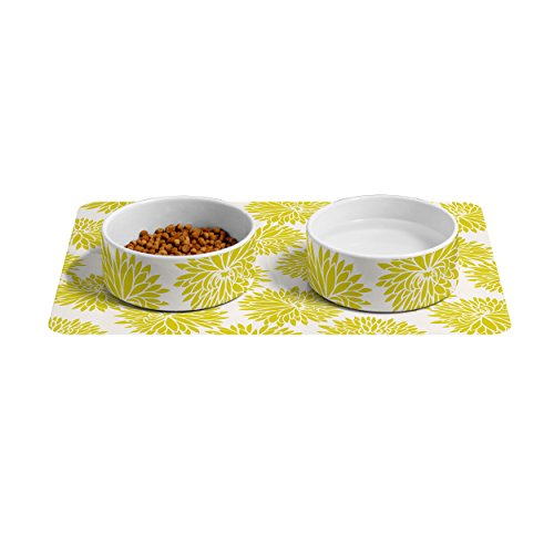 Feeding Frenzy Feeding Station - Deny Designs Lisa Argyropoulos Marbled Frenzy Glamour Pink Pet Bowls & Mat Set