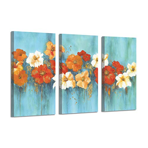Floral Abstract Pictures Botanical Art : Flower Garden Gold Foil Painting on Canvas (26'' x 16'' x 3 Panels) for Wall (And Turquoise Orange Kitchen)