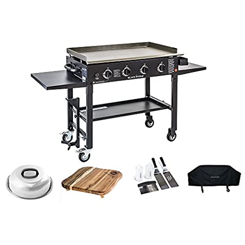 Blackstone 36 inch Outdoor Flat Top Gas Grill Griddle Station Deluxe Bundle 4-burner Grill, Cover, Accessory Kit, Melting Dome and Cutting - Deluxe Natural Gas Grill